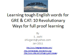 Learning tough English words for GRE & CAT: 10 Revoluti PowerPoint PPT Presentation