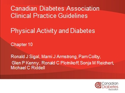 Canadian Diabetes Association Clinical Practice Guidelines PowerPoint PPT Presentation