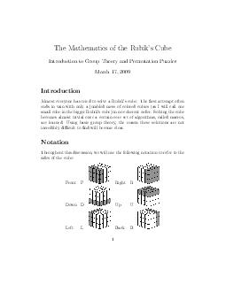 The Mathematics of the Rubiks Cube Introduction to Group Theory and Permutation Puzzles March   Introduction Almost everyone has tried to solve a Rubiks cube