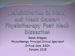 Rehabilitation in Head and Neck Cancer: Physiotherapy Post
