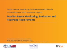 Food for Peace Monitoring, Evaluation and Reporting Require