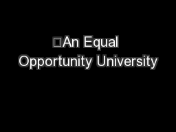 An Equal Opportunity University