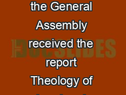 The inheritance of Abraham A report on  May  Introducti on Ten years ago the General Assembly received the report Theology of Land and Covenant  from the Board of World Mission Church and Nation Commi