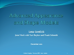 Advanced Appearance and Shape Models PowerPoint PPT Presentation
