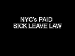 NYC's PAID SICK LEAVE LAW