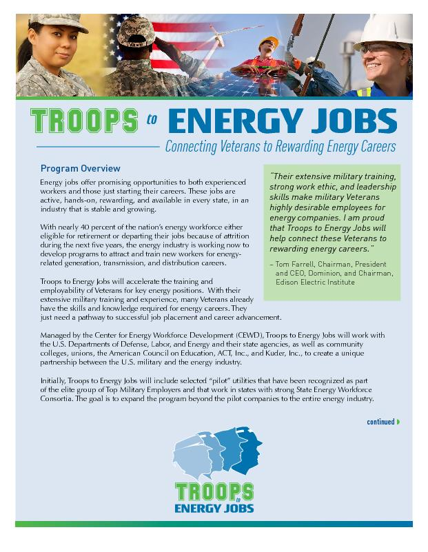 Program OverviewEnergy jobs offer promising opportunities to both expe