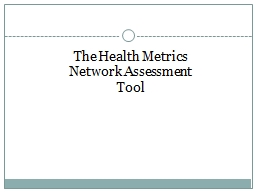 The Health Metrics Network Assessment Tool