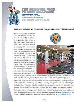 PEARSON OP ENING TO CULMINA E TD CLARK COUN Y ENAISSAN April    Las Vegas Nevada USA  Over the past few weeks The Dumbell Man TDM reconrmed its longstanding commitment to the Clark County Department