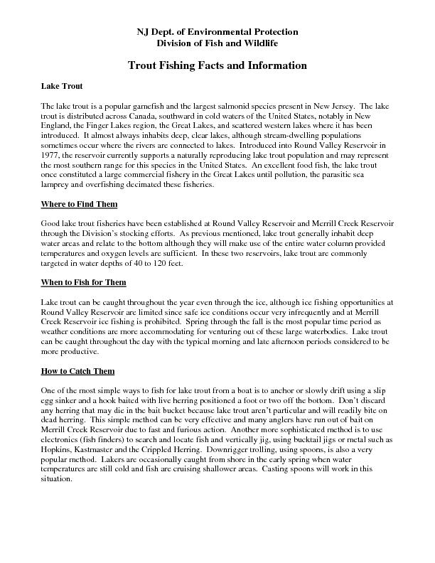 Trout Fishing Facts and Information Lake Trout The lake trout is a pop