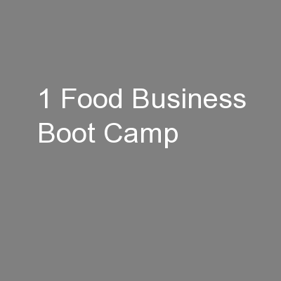 1 Food Business Boot Camp