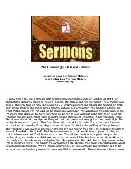 No Cunningly Devised Fables Sermons Presented By Stephen McIntyre Posted online by A New You Ministry www
