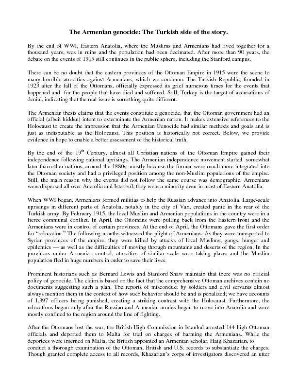 the armenian genocide essay Included: history essay war essay content preview text: in the book crescent and star: turkey between two worlds, stephen kinzer describes several ethnic tensions that happen in turkey one of those ethnic tensions that kinzer discusses is armenian tension, which is armenian genocide.