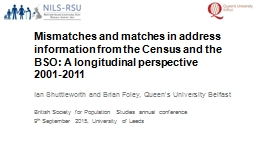 Mismatches and matches in address information from the Cens PowerPoint PPT Presentation