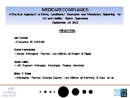 MEDICARE COMPLIANCE: PowerPoint PPT Presentation