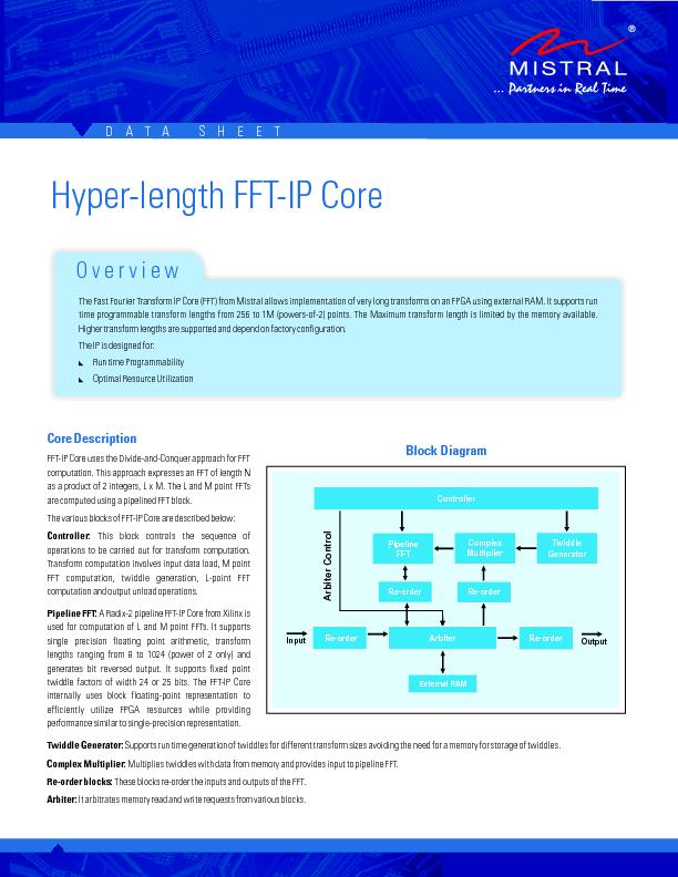 Core DescriptionFFT-IP Core uses the Divide-and-Conquer approach for F