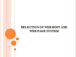 Selection of web host and web page system