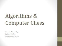 Algorithms & Computer Chess PowerPoint PPT Presentation