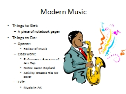 Modern Music PowerPoint PPT Presentation