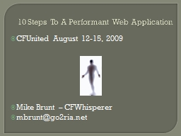 10 Steps To A Performant Web Application PowerPoint PPT Presentation