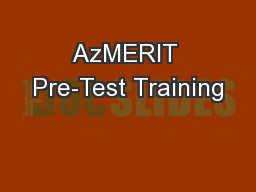 AzMERIT Pre-Test Training