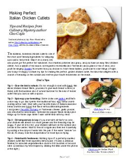 Page of Making Perfect Italian Breaded Chicken Cutlets he skinless boneless chicken cutlet is one of the most user friendly ingredients for whipping up a quick tasty meal