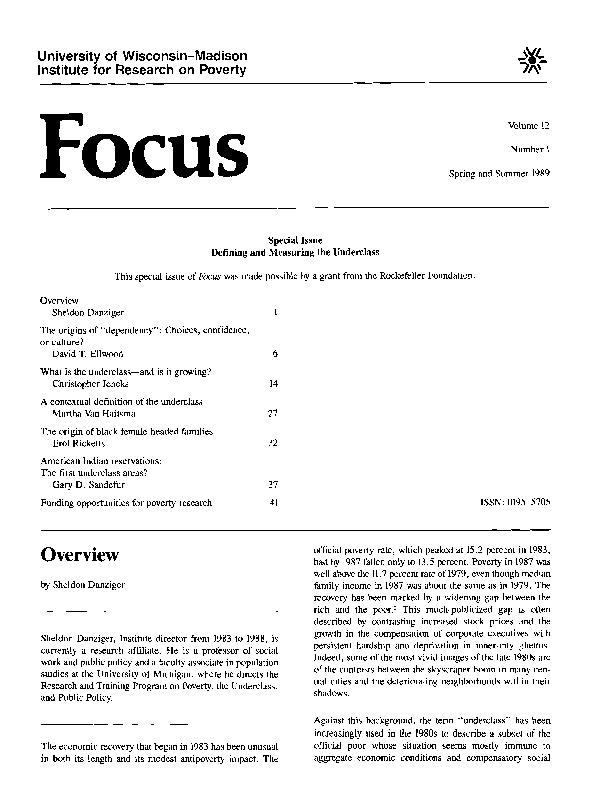Special Issue Defining and Measuring the Underclass This special made