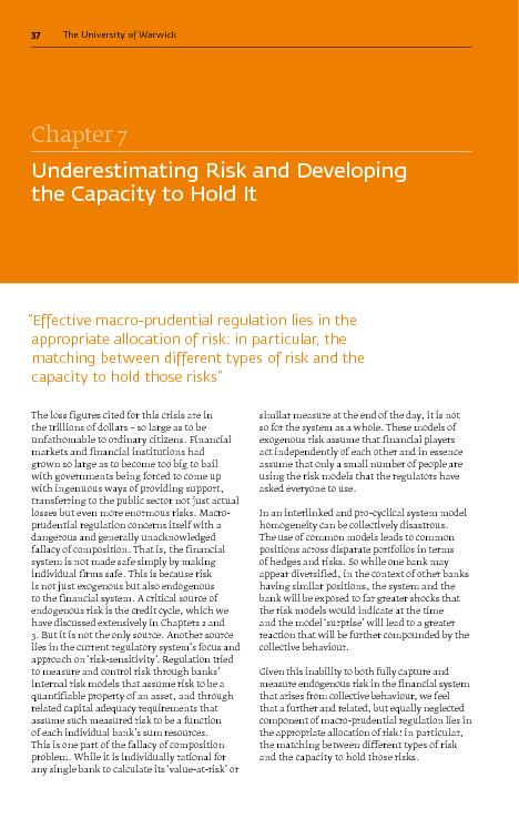 Chxpter MUnderestimating Risk and Developing the Capacity to Hold Itff