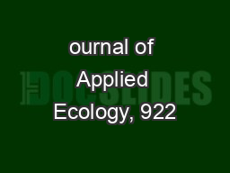 ournal of Applied Ecology, 922