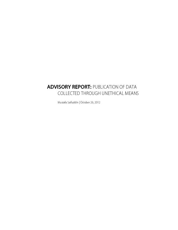 ADVISORY REPORT: PUBLICATION OF DATA COLLECTED THROUGH UNETHICAL MEANS PowerPoint PPT Presentation