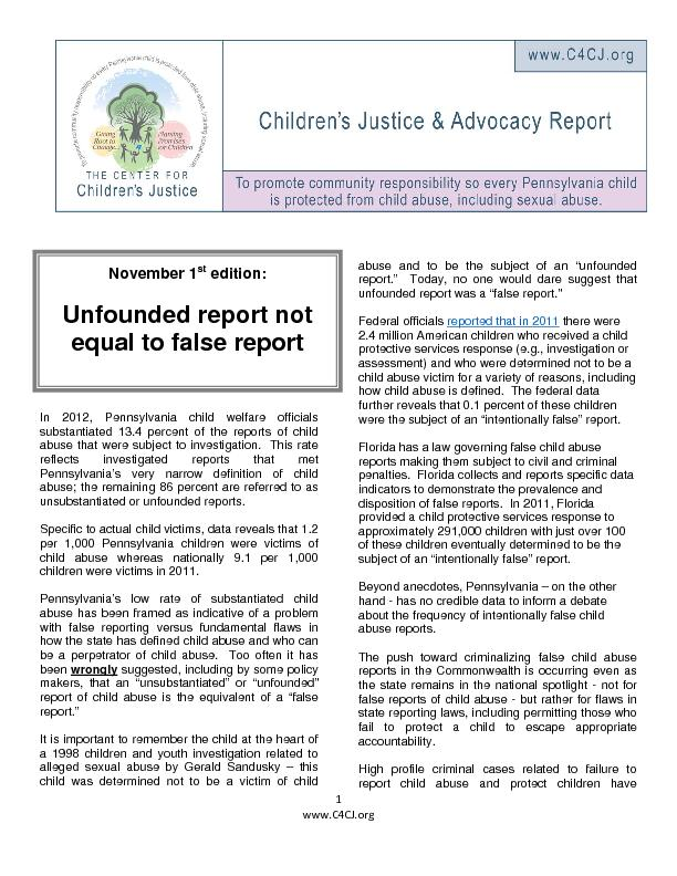 In 2012, Pennsylvania child welfare officials substantiated 13.4 perce