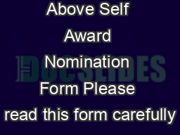 RI Service Above Self Award Nomination Form Please read this form carefully