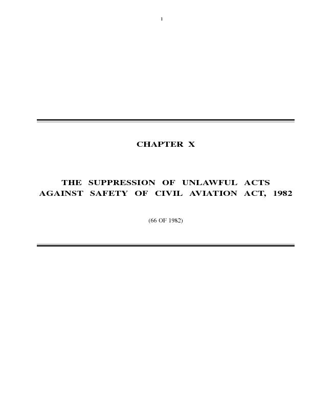 CHAPTER  XTHE SUPPRESSION OF UNLAWFUL ACTSAGAINST SAFETY OF CIVIL AVIA