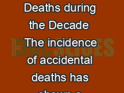 CHAPTER   ACCIDENTAL DEATHS IN INDIA Incidence and Rate of Accidental Deaths during the Decade  The incidence of accidental deaths has shown a increasing trend during the decade   with an increase o PowerPoint PPT Presentation