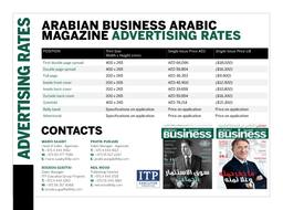Media Information  CELEBRATING  YEARS AS HE BEST READ BUSINESS NEWS ACROSS THE REGION   READERSHIP SURVEY of readers use Arabian Business Arabic exclusively for news information and business sources