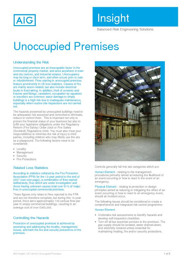 AIG Insight | UC148153 Unoccupied Premises