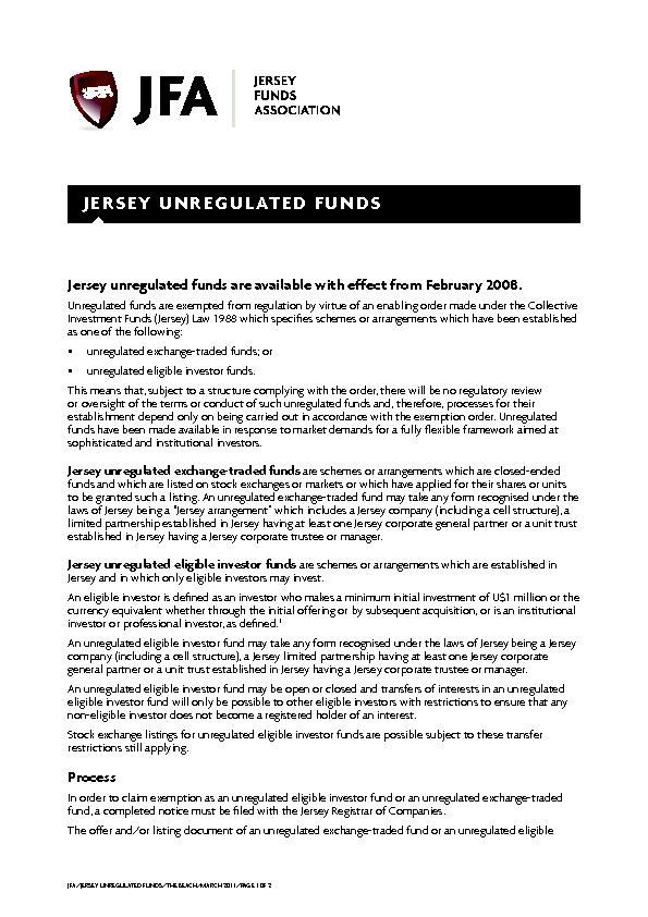 Jersey unregulated funds are available with effect from February 2008. PowerPoint PPT Presentation