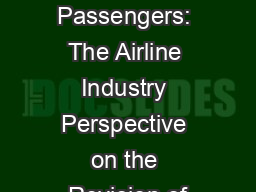 Unruly Passengers: The Airline Industry Perspective on the Revision of