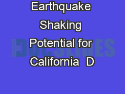 Earthquake Shaking Potential for California  D