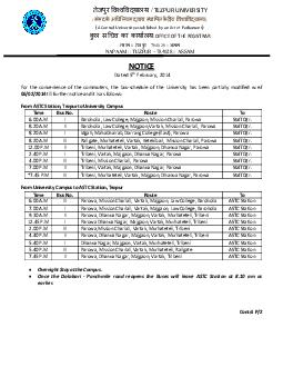TEZPUR UNIVERSITY  A Central University established by an Act of Parliament  OFFICE OF THE REGISTRAR     NOTICE Dated th February  For the convenience of the commuters the bus schedule of the Univers