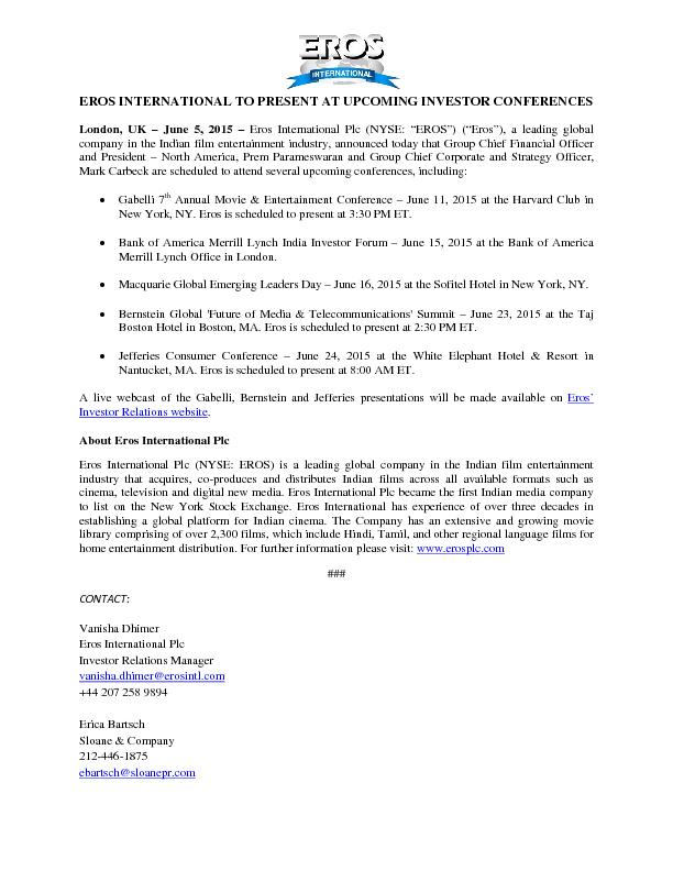 Eros international to present at upcoming investor - Office of investor education and advocacy ...