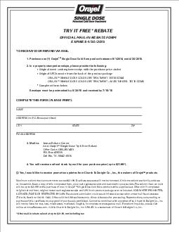 TRY IT FREE REBATE OFFICIAL MAILIN REBATE FORM EXPIRES  TO RECEIVE YOUR REFUND VIA MAIL