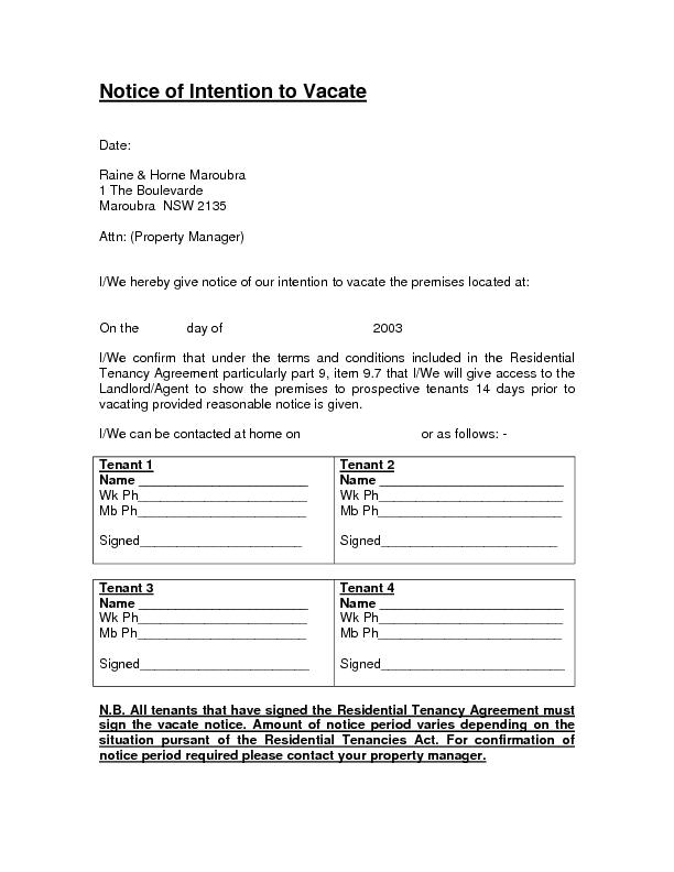 Notice of Intention to Vacate