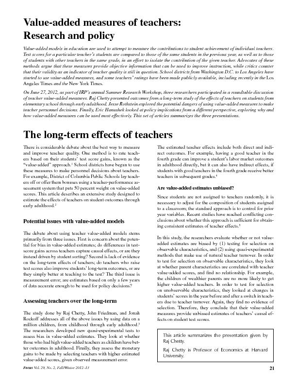 Value-added measures of teachers:Research and policyValue-added models