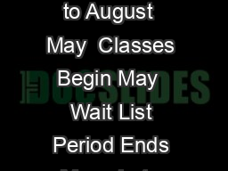 Student Timetable  Summer  GENERAL DATES Full T erm Classes   weeks  May   to August  May  Classes Begin May  Wait List Period Ends May   Late Registration per course Plus Department Approval Begins