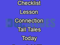 Student Guide Tall Tales Checklist Lesson Connection Tall Tales Today Copyright The Kennedy Center