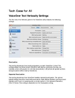 DeletedTextThis setting determines the amount of  feedback VoiceOver w