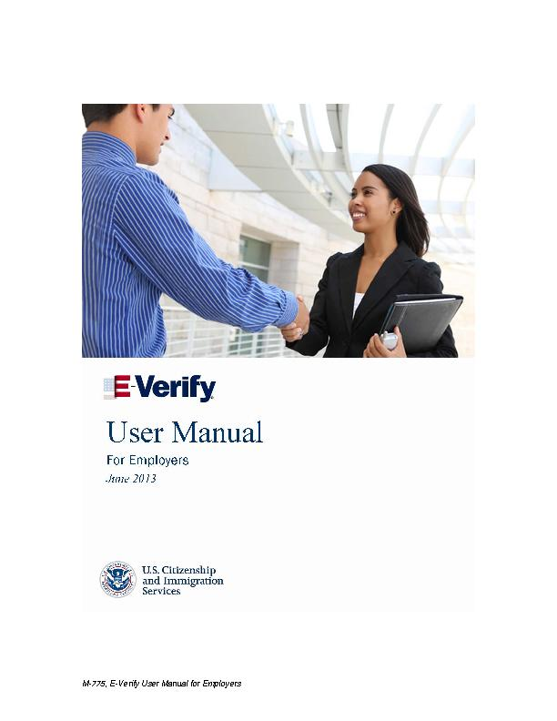 M-775, EVerify User Manual for Employers