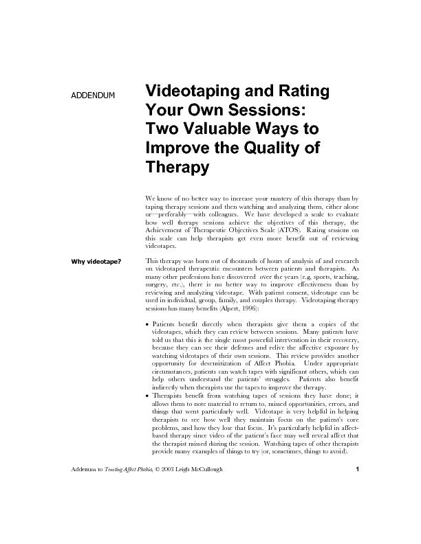 2Videotaping and Rating Your Own Sessions