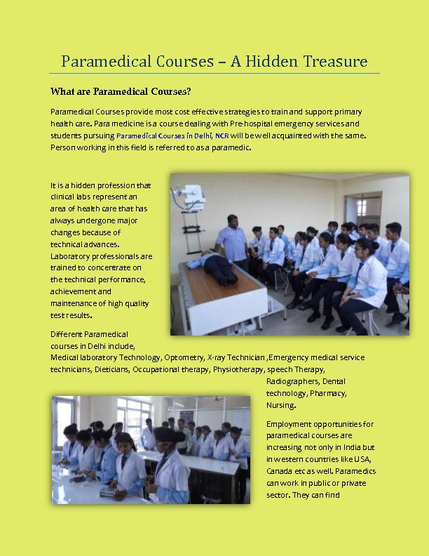 Paramedical Courses in Delhi NCR
