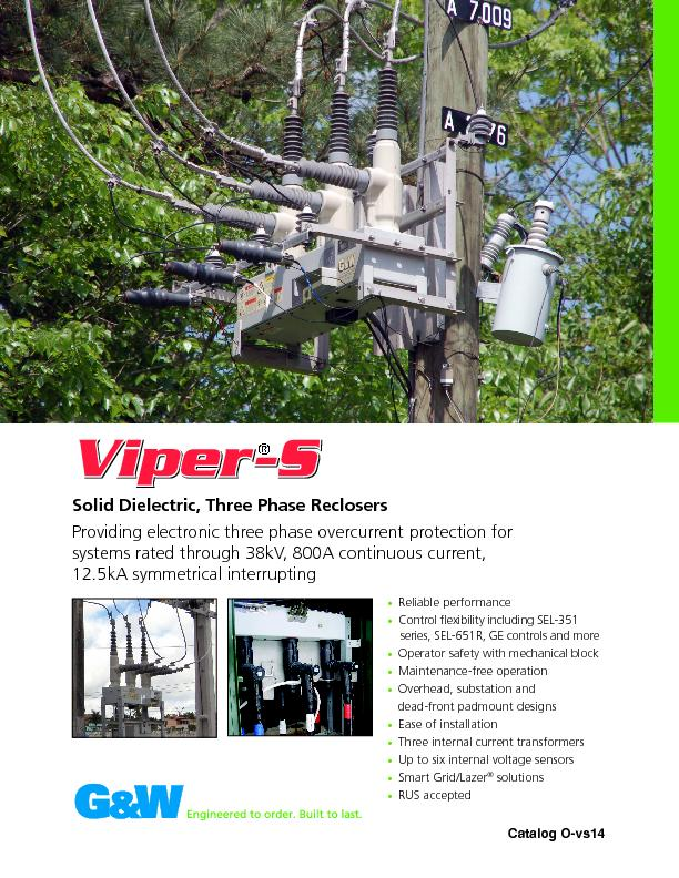 Solid Dielectric, Three Phase Reclosers PowerPoint PPT Presentation